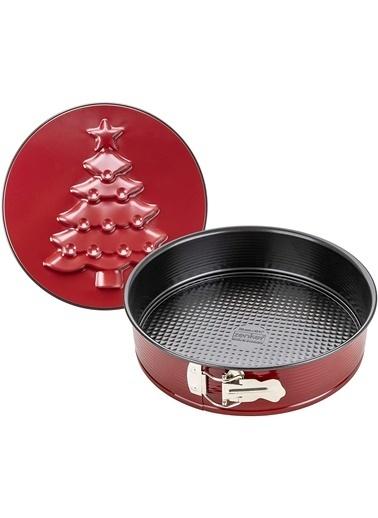 Zenker Zenker 6006 Sparkling Christmas Çift nlı Yapışmaz Kaplama Çam Ağacı Desenli KelepÇeli Kalıp 26 cm Renkli